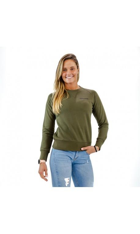 Sweat-shirt green khaki BIO for women - THORUS