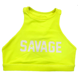 Training bra yellow HIGH NECK GLOW STICK for women - SAVAGE BARBELL