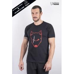 Training T-Shirt black SCARED WOLF red for men | URBAN CROSS