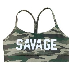 Training bra green camo for women | SAVAGE BARBELL