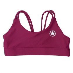 Training bra DEEP RASPBERRY KNOTTY BACK for women | SAVAGE BARBELL