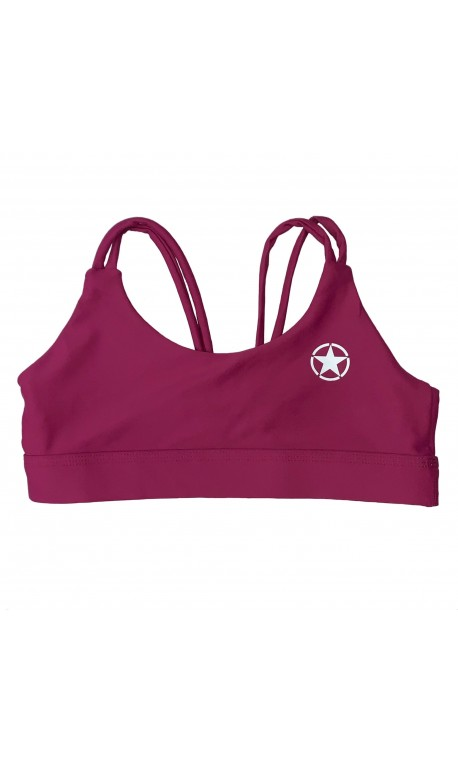 Training bra DEEP RASPBERRY KNOTTY BACK for women | SAVAGE BARBELL