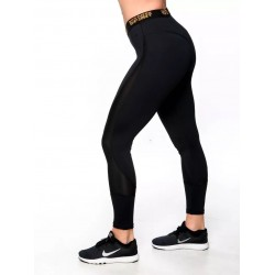 Training legging 7/8 low waist black GOLD for women - NORTHERN SPIRIT