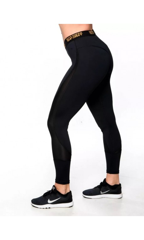 Training legging 7/8 low waist black GOLD for women - NORTHERN SPIRIT
