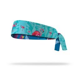 Reversible workout tie headband FLAMINGO  LITHE APPAREL