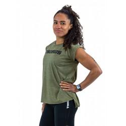 T-shirt femme vert kaki manches retroussées | THORUS WEAR