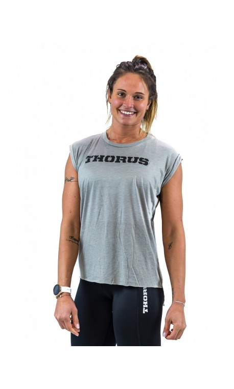 T-shirt GREY rolled up sleeves for women   THORUS