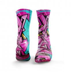 Multicolor workout GRAFFITI pink & blue socks – HEXXE SOCKS