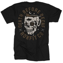 T-shirt black DEATH BEFORE DECAF for men - ROKFIT