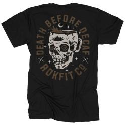 T-Shirt Homme noir DEATH BEFORE DECAF  ROKFIT