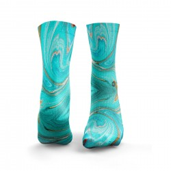 Multicolor workout MARBLE AQUA BLUE & GOLD socks – HEXXEE SOCKS