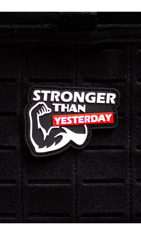STRONGER THAN YESTERDAY 3D PVC velcro patch for athlete | PICSIL