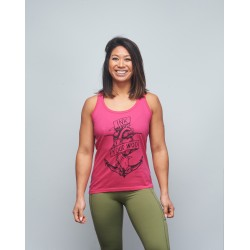 Training tank fuchsia pink INK YOUR WOD for women   VERY BAD WOD x WILL LENNART TATOO