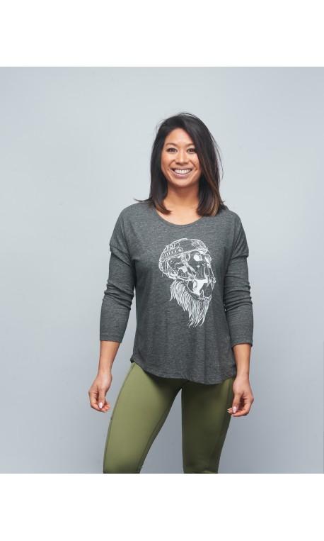 Training 3/4 sleeve t-shirt grey GORILLA OPS for women   VERY BAD WOD x WILL LENNART TATOO
