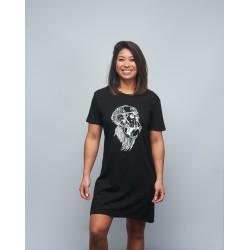 Woman's black T-shirt dress GORILLA OPS   VERY BAD WOD x WILL LENNART TATOO