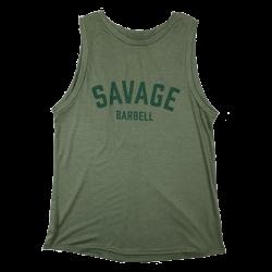 Training cross tank TIE-BACK green khaki for women | SAVAGE BARBELL