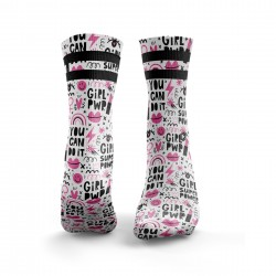 Chaussettes blanches YOU CAN DO IT 2STRIPE | HEXXEE SOCKS