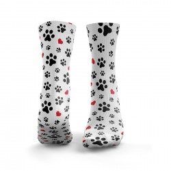 Chaussettes blanches PAW PRINT HEARTS| HEXXEE SOCKS