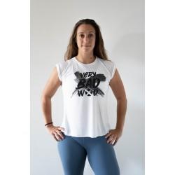 Training T-shirt rolled sleeves white BRUSH for women | VERY BAD WOD